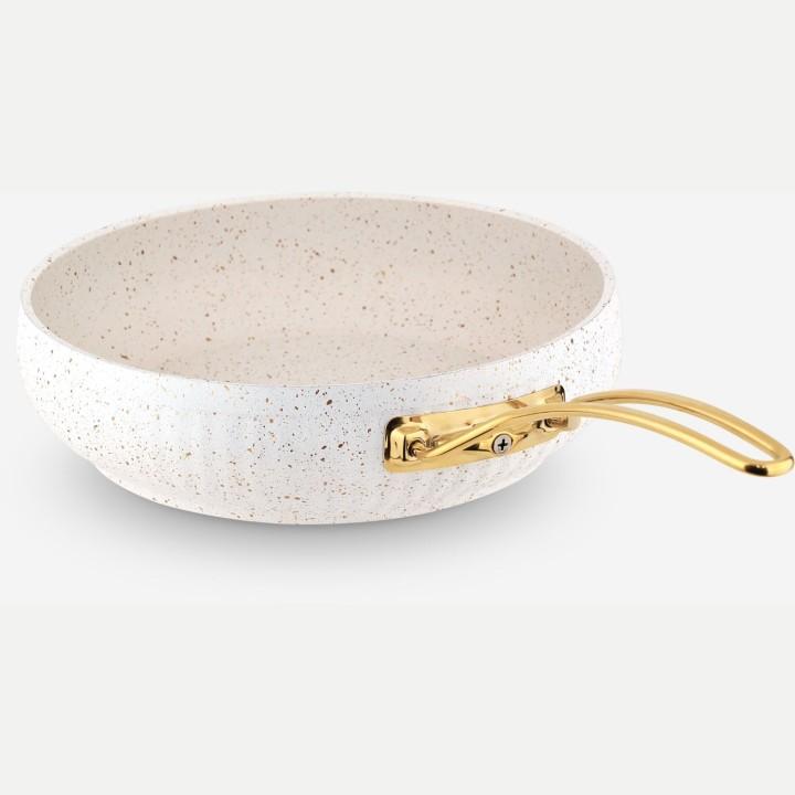 Lines Beyaz Altın Metal Kulp Granit Desenli Güveç Tava - Thumbnail