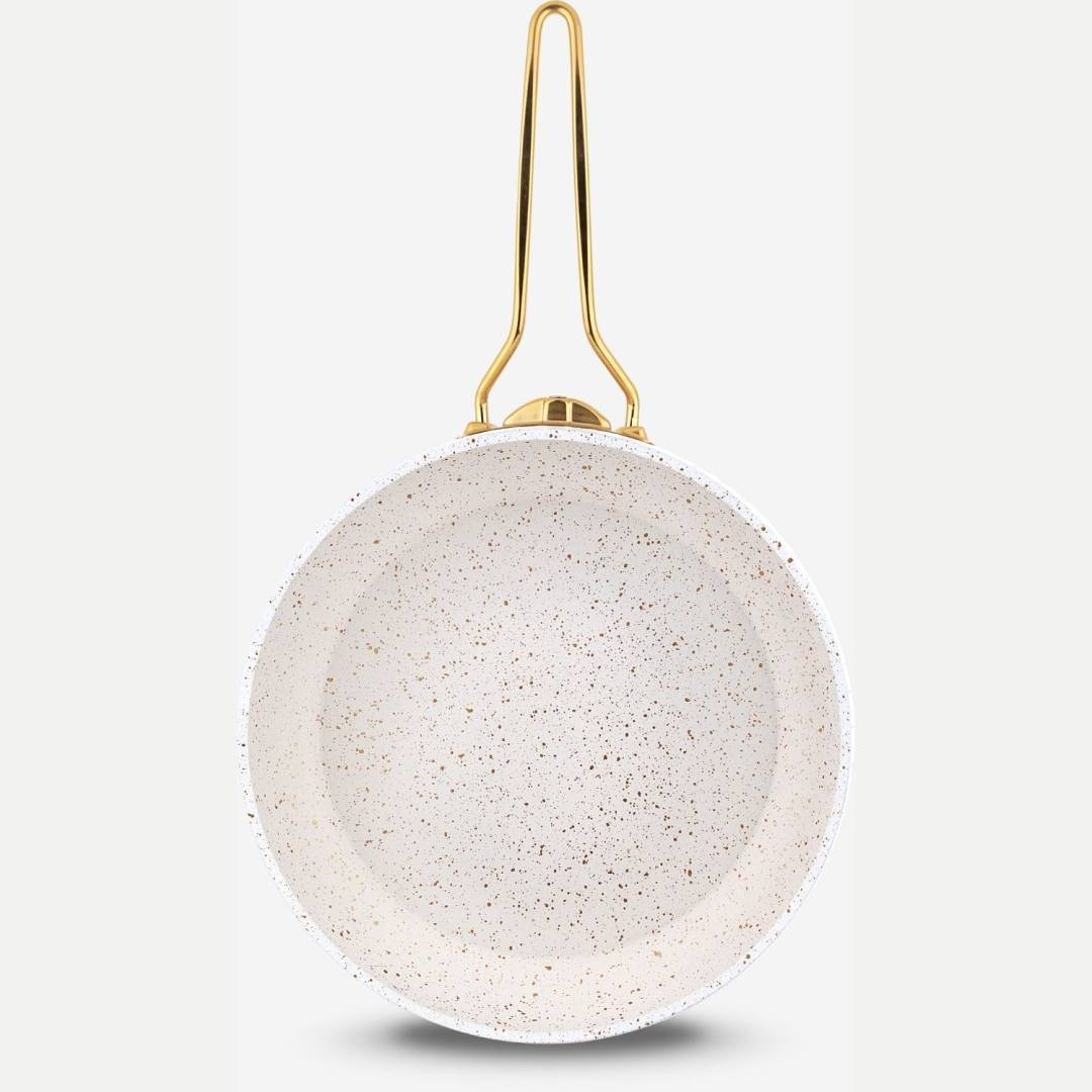 Lines Beyaz Altın Metal Kulp Granit Desenli Güveç Tava