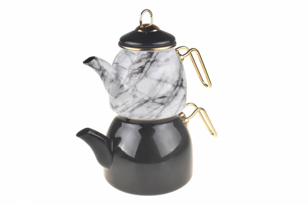 Taşev Mermer Desenli Siyah Emaye Çaydanlık