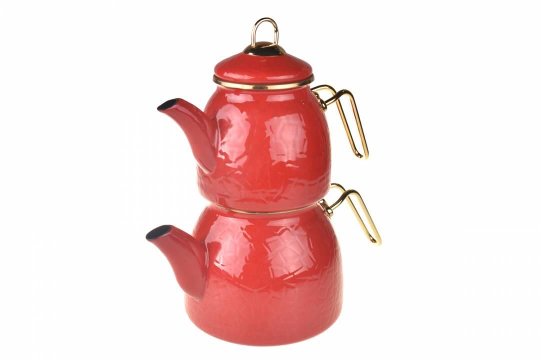 Taşev Rölyefli Kırmızı Emaye Çaydanlık